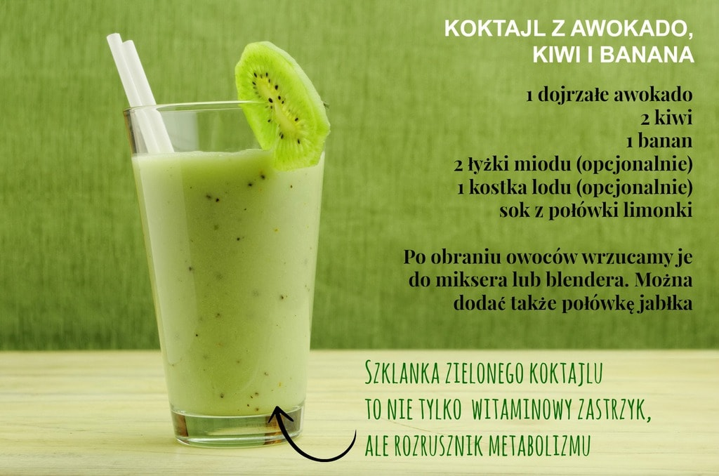 milkshake with kiwi in a glass with straws over green background